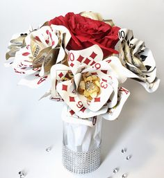 Playing Card Flowers Gold Bling Casino Party by ThePaintedPetaler
