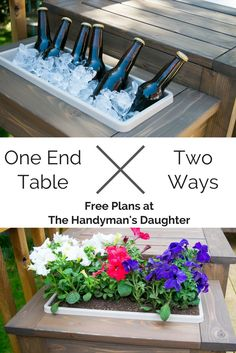 Switch from ice bucket to planter and back again with this genius outdoor end table! Get the free woodworking plans for this easy build at The Handyman's Daughter! | free plans | easy project | simple woodworking project | outdoor furniture | planter | ic