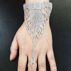 RING BRACELET COMBO S4 - Silver plated body with Rhinestone Crystal