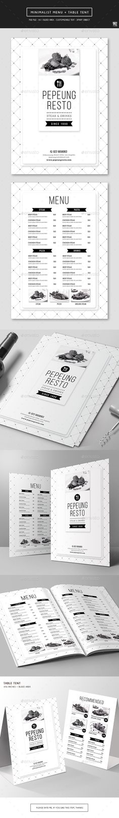 Minimal Menu Template Menu templates, Food menu and Print templates - table tent template