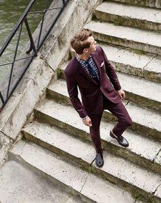 J.Crew men's Ludlow suit jacket in heathered Italian flannel and Ludlow suit pant in heathered Italian flannel.