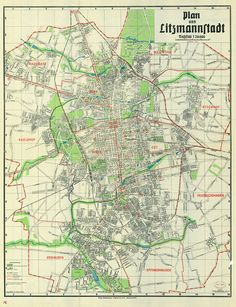 After Nazi-Germany annexes Lódz they transform the city into Litzmannstadt by modernizing its infrastructure and organizing racial segregation. Almost 200.000 Jews are first excluded from certain market streets and get curfews imposed on them. Here you see a public city plan of Litzmannstadt from 1942.