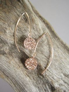 Rose Gold Druzy Earrings Titanium Drusy Quartz with Rose Gold-Filled Ear Hooks  by julianneblumlo, $78.00