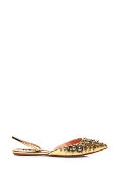 Shop Embellished Metallic-Leather Slingbacks by Rochas Now Available on Moda Operandi