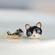 Versão coreana do delicado e encantador pequeno gato e peixe brincos mulheres