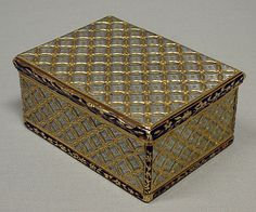 Box,Jean Ducrollay,  ca 1739-40  French-Paris  Gold,mother of pearl,enamel.