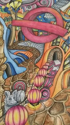 "Close up of The Magical City Adult coloring book. ""Soho"" page. Inktense pencils activated with water. Colored by Dayna Brown. 5-2016"