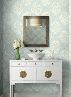 Escala Wallpaper in Blue and White by Ronald Redding for York Wallcoverings