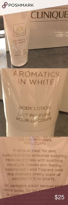 """Clinique """"aromatics in white"""" 2.5 oz BNWT. All my beauty products are BNWT. Safety first!  For a subtle powdery scent you can use this alone or discount with a bundle. I gave very sensitive skin, so I am very particular with what I put on my skin. I trust all of Clinique kind of products. They are most known for all skin types and that is so important to us who break out with anything scented. A body lotion, that we all need anyways, but this does great even alone and without layering for a…"""