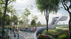 Lingang Sanctuary unveiled for Endangered Species by McGregor Coxall #landscapearchitecture #wetland #migratory #birds #birdhide