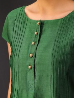Green Pintuck Chanderi Kurta Linen Dress in Beige and Green Salwar Neck Designs, Neck Designs For Suits, Kurta Neck Design, Neckline Designs, Kurta Designs Women, Designs For Dresses, Dress Neck Designs, Blouse Designs, Salwar Pattern