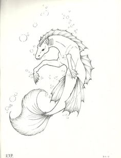 Manga Drawing Patterns Hipocampo by Ejdno on DeviantArt - Creature Drawings, Horse Drawings, Cool Art Drawings, Animal Drawings, Mermaid Drawings, Mermaid Art, Mythical Creatures Art, Fantasy Creatures, Animal Sketches
