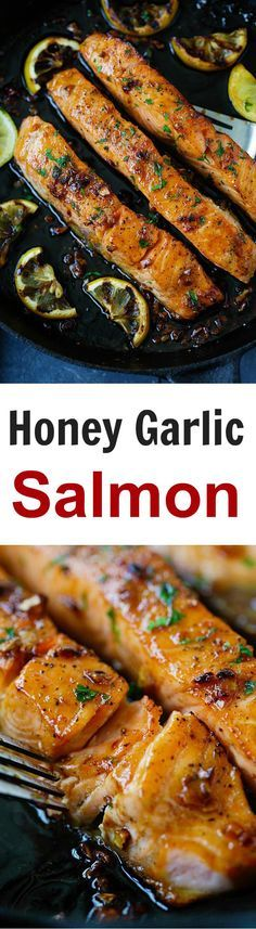 Honey Garlic Salmon – garlicky, sweet and sticky salmon with simple ingredients. Takes 20 mins, so good and great for tonight's dinner | rasamalaysia.com