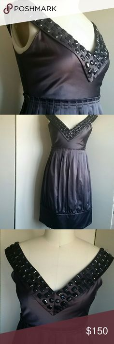 """Zara Woman Party Dress S Looks really great on, the bottom band at hem looks more adorable on real person. All beading intact but one is slightly loose at shoulder which is not apparent when on. One problem: can't zip without help, so plan on dressing with help as the zipper gets stuck at waist unless dress is pulled down at hem while zipping. See last two pics. No problem once zipped. Cotton, polyester, spandex, 35"""" long. Color is beautiful, slate brown, eggplant but different depending on…"""