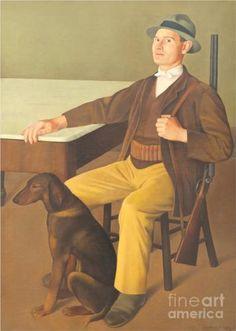 The Hunter Antonio Donghi Italian Paintings, Cacciatore, Magic Realism, Man And Dog, Famous Words, Art Database, Portraits, Italian Artist, Artist Gallery