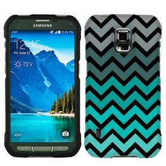 Samsung Galaxy S5 Active Chevron Grey Green Turquoise on Black Case:Amazon:Cell Phones & Accessories