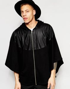 100% Cotton Oversized Men Zipper Hooded Jacket With Faux Leather Panel, View Hooded Jacket, Profound , OEM Product Details from Guangzhou Profound Garment Co., Ltd. on Alibaba.com