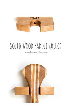 Why not show off your paddle using our solid cherry wood paddle holder. Can be configured vertically or horizontally (with 2 holders).