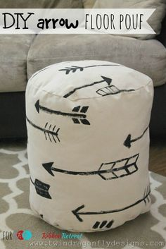 DIY Arrow Floor Pouf  (but make in a different color fabric and without the arrows, or different design than arrows)