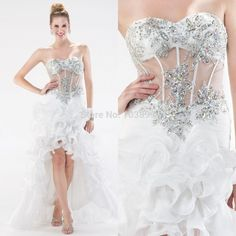 Stunning A Line Sweetheart Crystals Beaded See Through Sexy Ruffled Organza White Prom Gowns Party Dress Hi Lo 2015