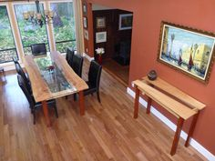 Dining table and matching side board table.