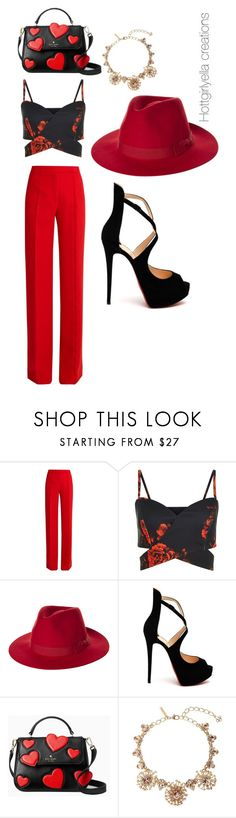 """Hot girl in red!"" by hottgirlyella ❤ liked on Polyvore featuring Marco de Vincenzo, Brixton, Christian Louboutin, Kate Spade and Oscar de la Renta"