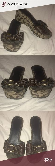 Coach Platform Slide On Shoes Size 8.5 Great Pebbled brown leather shoes with brass hardware accents. The bottoms are Platform with CC monogram fabric and they have non-slip soles. The style is Janeesa and they come in an 8.5. They show normal wear and have a bit of damage to the back of the right one. See the pics for this. Coach Shoes Platforms