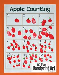 fall activities for kids Free Printable Fingerprint Apple Counting Activity: Perfect for an apple unit or Letter A is for Apple craft (+ another printable for Johnny Appleseed D Preschool Apple Activities, Preschool Apple Theme, Autumn Activities For Kids, Kindergarten Crafts, Preschool Math, Kindergarten Apple Theme, September Preschool Themes, Preschool Apples, Preschool Projects