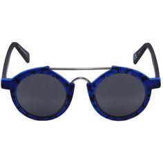 Italia Independent Women I-plastik 0920v Velvet Mirror Sunglasses (312 CAD) ❤ liked on Polyvore featuring accessories, eyewear, sunglasses, blue, mirrored sunglasses, round frame sunglasses, round sunglasses, blue sunglasses and round blue sunglasses