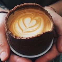 Coffee in a chocolate cookie cup