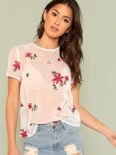 To find out about the Floral Embroidered Sheer Mesh Top Without Bra at SHEIN, part of our latest Blouses ready to shop online today! Black Girl Fashion, Curvy Fashion, Beautiful Outfits, Cute Outfits, Polka Dot Tees, Sheer Mesh Top, White Style, Fashion Pictures, Floral Tops