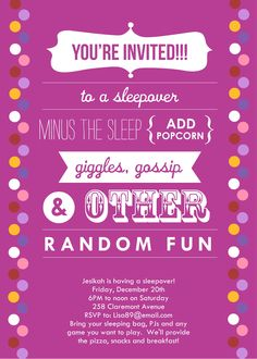 Sleepover Invitations Birthday Parties Girl Slumber Party