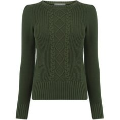 Cable Knit Jumper ($150) ❤ liked on Polyvore featuring tops, sweaters, green jumper, jumper top, jumpers sweaters, green cable knit sweater and cable-knit sweater
