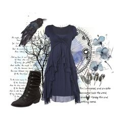 A fashion look from August 2012 featuring cap sleeve knee length dress, short boots and filigree lace jewelry. Browse and shop related looks.