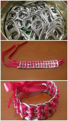 Make bracelets with old can tops and ribbon
