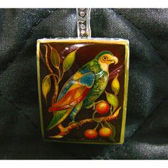 Colorful Bird Hand Painted Cameo Pendant Sterling Silver Original Art... ($60) ❤ liked on Polyvore featuring sylvia-cameojewels