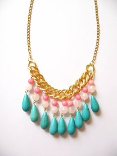 Turquoise Pink Coral and Quartz Necklace - perfect for summer