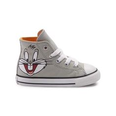 """Showcasing everyone's favorite rascally rabbit, say """"What's up, doc?"""" to the new Chuck Taylor All Star Hi Looney Tunes Bugs Bunny Sneaker from Converse! These classic All Star Hi Chucks sport a high-top design, constructed with sturdy canvas uppers, classic Bugs Bunny graphics, and signature Chuck Taylor logo patch."""