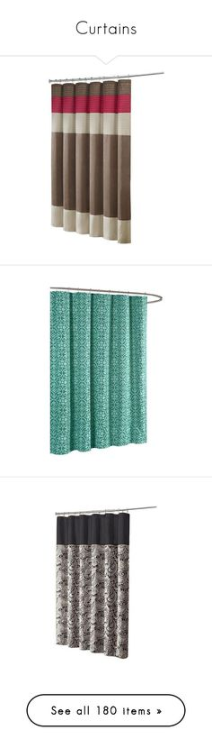 """""""Curtains"""" by gailgail610 ❤ liked on Polyvore featuring home, bed & bath, bath, shower curtains, fabric shower curtains, teal shower curtains, home improvement, plumbing, carnation home fashions and brown shower curtains"""
