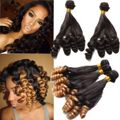 """New Fashion Funmi Curly Brazilian Real Human Hair Extension 10""""-30"""" Curls Wefts #wigiss #HairExtension"""