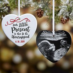 Buy personalized expecting ornaments to commemorate your pregnancy. Add the baby's due date and optional sonogram photo on the back of the pregnancy ornament. Makes a great gift for pregnant mom, dad or grandparents. Baby Ornaments, Personalized Christmas Ornaments, Christmas Crafts, Ornaments Ideas, Handmade Christmas, Photo Christmas Ornaments, Clear Ornaments, Christmas Decorations, Christmas Movies