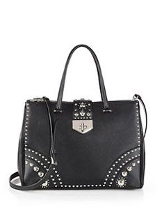 Prada - Saffiano Tote with Metal Studs