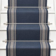 Roger Oates Avon Berry stair runner carpet with Brushed Chrome stair rods on white painted staircase Carpet Staircase, Hallway Carpet, Hallway Flooring, Parquet Flooring, Painted Staircases, Painted Stairs, Stair Rods, Blue Carpet, Carpet Colors
