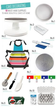 Ten must-have cake decorating supplies to create beautiful cakes at home. All of the basic tools covered, and then some.