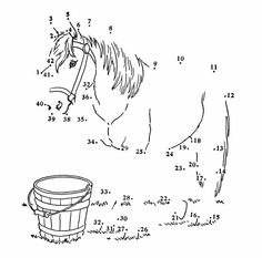 Dot to Dot Pages - Connect the Dots Activity Sheets Horse Coloring Pages, Printable Coloring Pages, Colouring Pages, Coloring Books, Apple Coloring, Toddler Drawing, Dot To Dot Printables, Horse Games, Horse Birthday