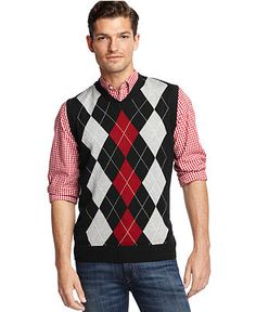 Club Room Sweater, Argyle Sweater Vest - Sweaters - Men - Macy's I would put a black shirt with it though.not a patterned shirt Gents Fashion, Fashion Wear, Fashion Outfits, Fashion 2015, Winter Fashion, Argyle Sweater Vest, Men Sweater, Winter Sweaters, Men Casual