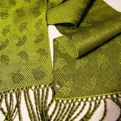 Handwoven Tencel Scarf  Ginkgo Leaves  Sage and by eweniquelyewe, $72.00