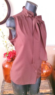 Vintage Brown Bow NeckTie Sleeveless Top by PopsCandy on Etsy, $12.00