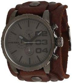 Diesel Leather Cuff Grey Dial Quartz Men's Watch - DZ4273