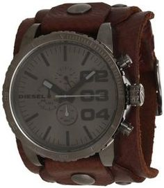 Diesel Leather Cuff Grey Dial Quartz Men's Watch - DZ4273